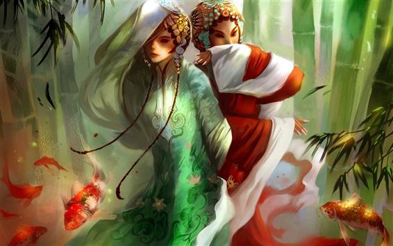 Wallpaper Hand-painted beautiful Beijing opera girl