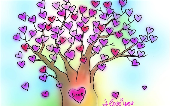 Wallpaper I Love You love heart tree