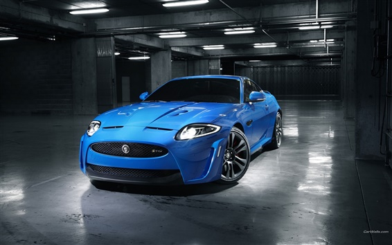 배경 화면 재규어 블루 자동차