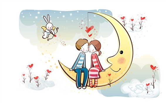 Wallpaper Love in the moon