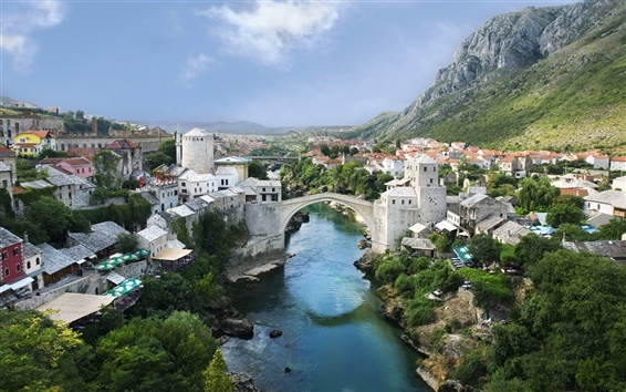 Wallpaper Mountain river town