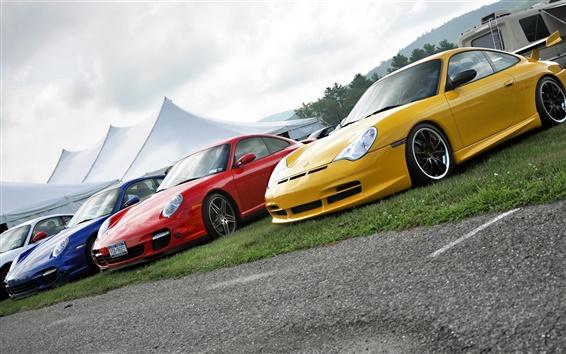 Обои Porsche четыре цвета