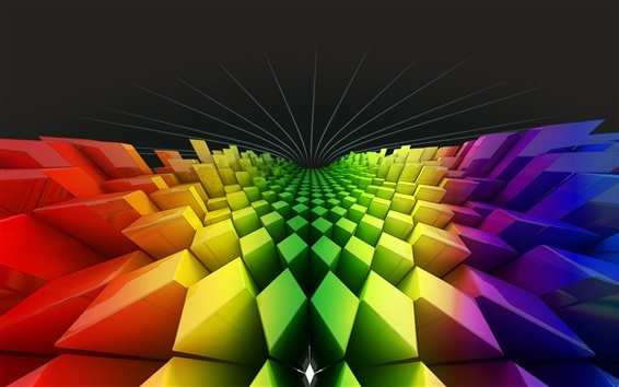 Wallpaper Rhombuses squares rainbow colors