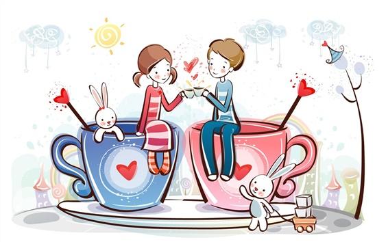 Wallpaper Romantic love coffee