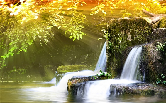 Wallpaper Small waterfall and sunlight