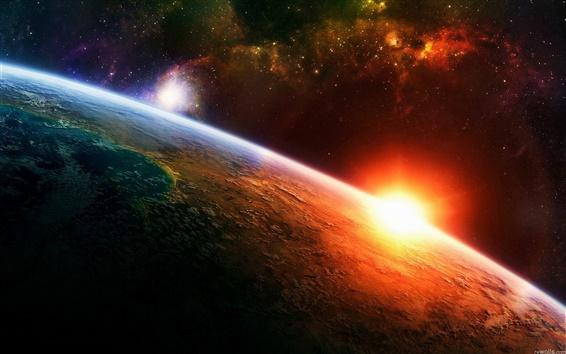Wallpaper Sunrise Earth in space
