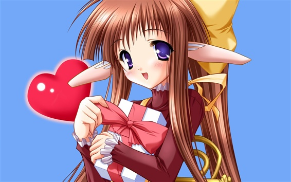 Wallpaper The brown-haired anime girl with gift