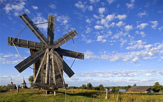 Wallpaper Windmill in Volkostrov, Onega Lake, Karelia