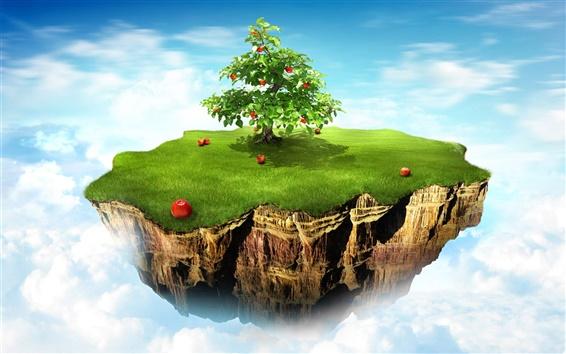Fond d'écran Pommier île dans le ciel