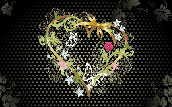 壁紙 黒い背景の愛ハート型の花のベクトル