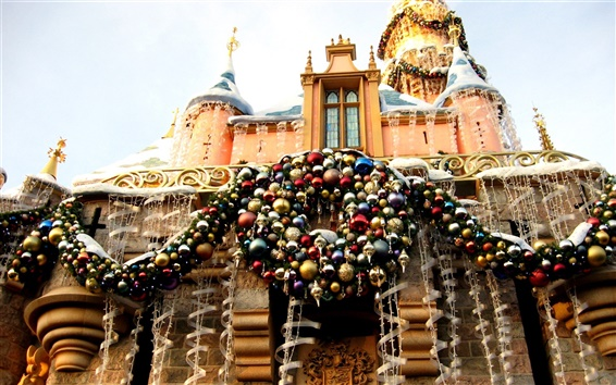 Wallpaper Castle New Year decorations