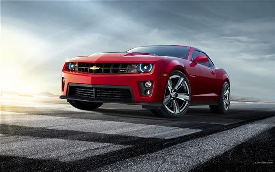 배경 화면 시보레 카마로 빨간색 자동차