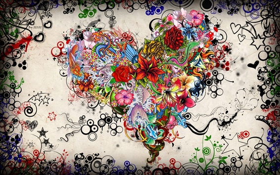 Wallpaper Colorful heart-shaped Love Art Picture