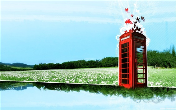Wallpaper Dream world of telephone booth