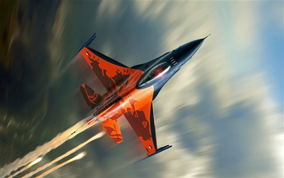 Wallpaper F-16 fighter flying cloud