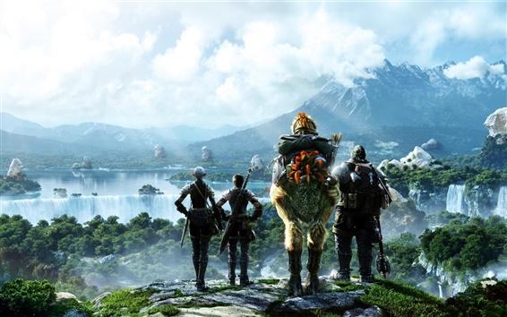 Fondos de pantalla Final Fantasy mesófilo de montaña, cascadas