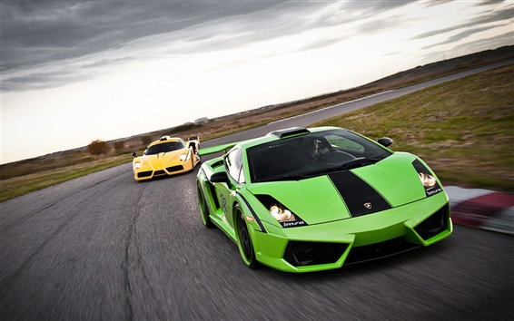 배경 화면 녹색과 노란색 람보르기니