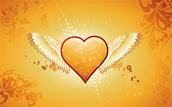 Wallpaper Orange heart-shaped wings of love