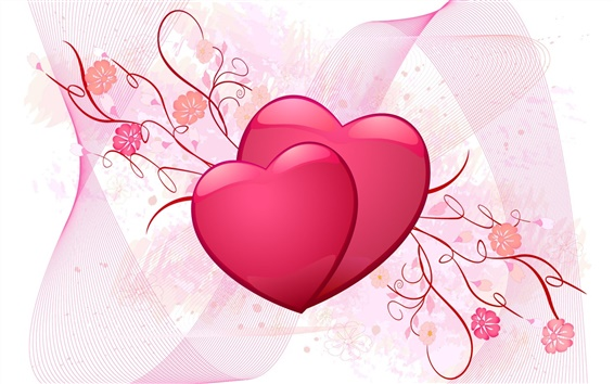 Wallpaper Pink love heart