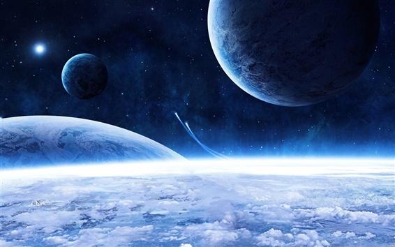 배경 화면 우주선과 파란 행성