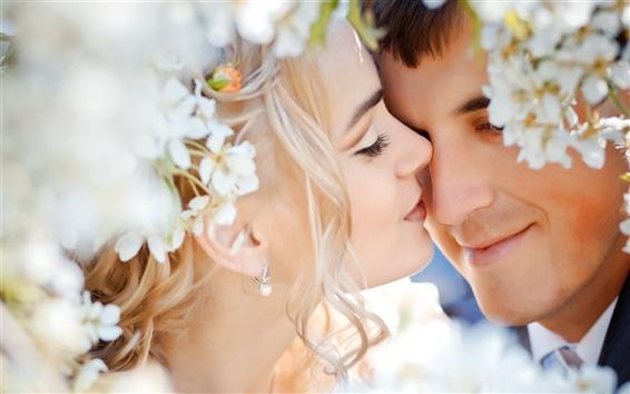 Wallpaper Wedding couple love feelings flowers