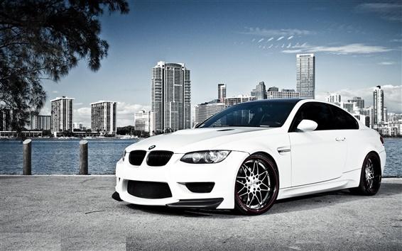 Wallpaper White BMW car