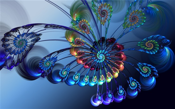 Wallpaper 3D abstract feathers