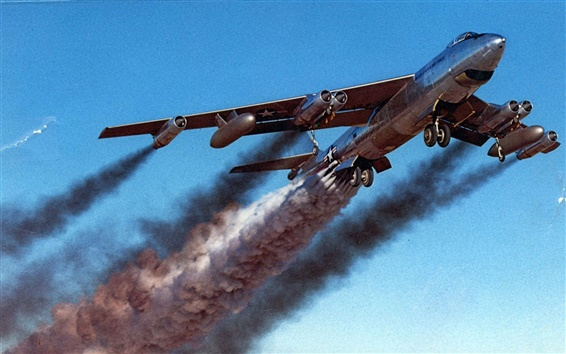 배경 화면 항공기 배기 연기