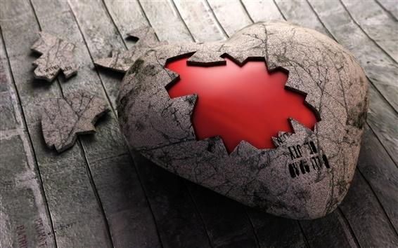 Обои Разбитое сердце камень