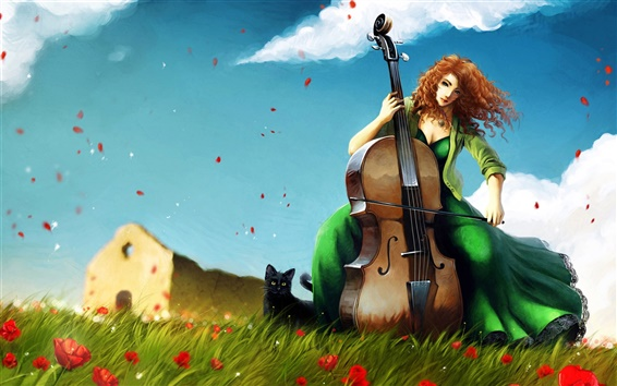 Wallpaper Cello girl on the grass