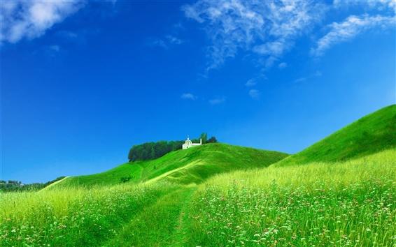 Wallpaper Dream home on the green hillside