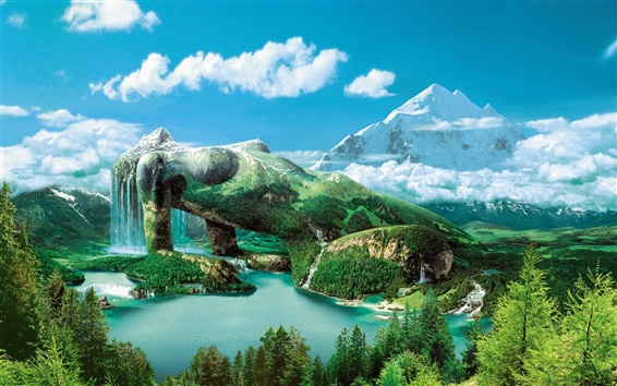 Fond d'écran Dreamy ciel montagne verte