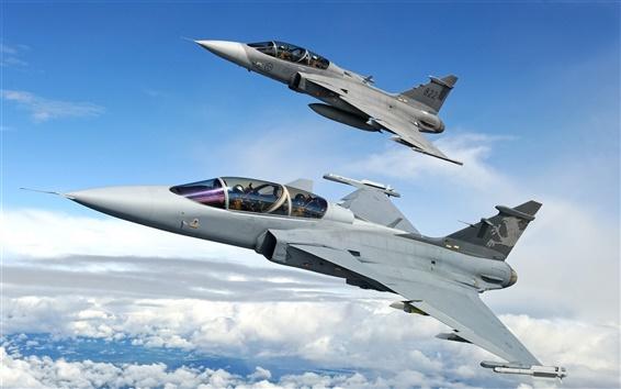 Wallpaper ETPS gripen fighter flying