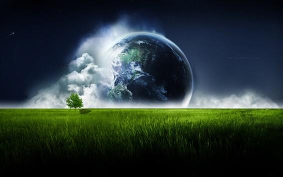 Wallpaper Earth over the green prairie sky