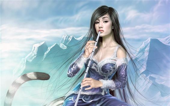 Wallpaper Flute girl blue dress