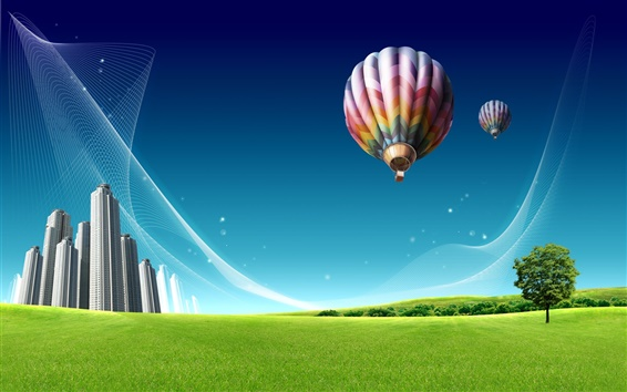 Wallpaper Hot air balloon over the city prairie