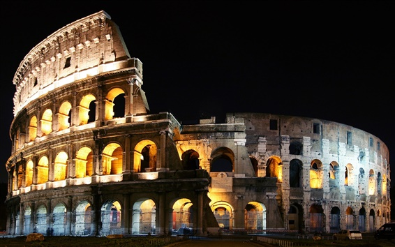 Wallpaper Italy Rome colosseum night