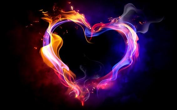 Wallpaper Love heart multi colored smoke fire
