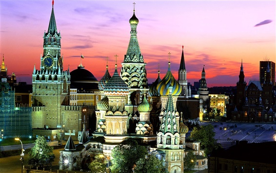 Wallpaper Russia Moscow night
