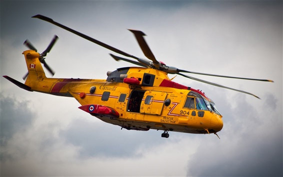 Wallpaper Yellow helicopter rescue flight Canada