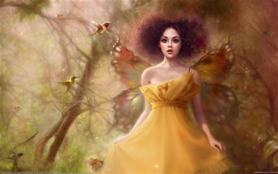 Fond d'écran Jaune papillon ailes jupe fille