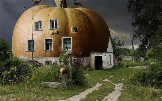 Wallpaper 3D abstract pumpkin house