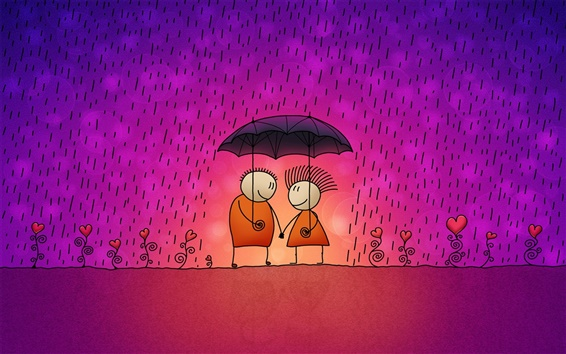 Wallpaper A pair of lovers in the rain