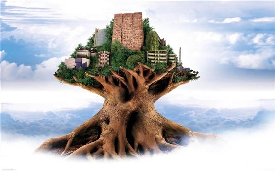 배경 화면 초록 나무 도시