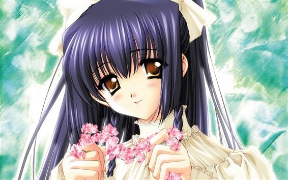 Wallpaper Anime girl holding garlands