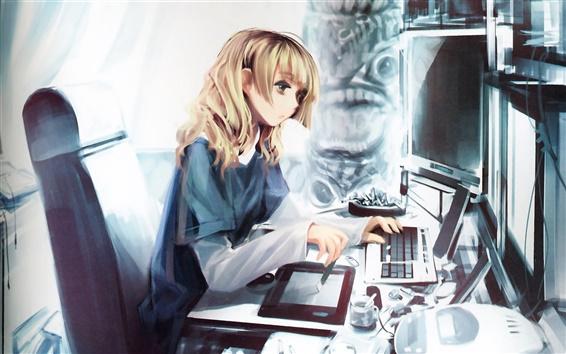 배경 화면 컴퓨터와 애니메이션 소녀