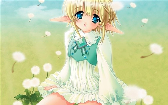 Wallpaper Blonde anime girl on grass