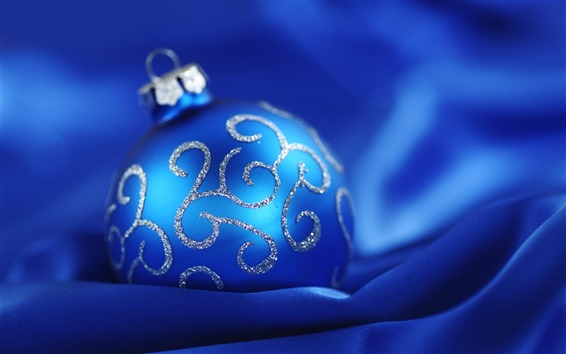 Wallpaper Blue Christmas ball blue background