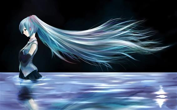 배경 화면 물 속에 서있는 파란 머리 애니메이션 여자