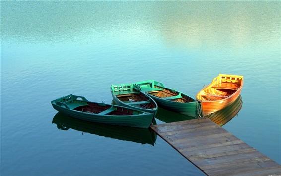 Обои Лодка озеро мост